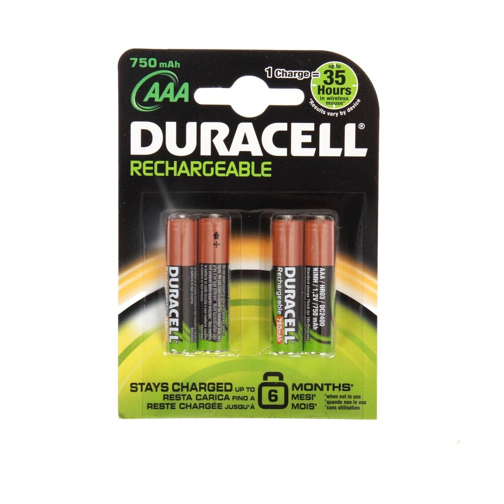 4 duracell aaa 750mah standard rechargeable batteries camera accu lr6 hr6 dc1500 ebay. Black Bedroom Furniture Sets. Home Design Ideas