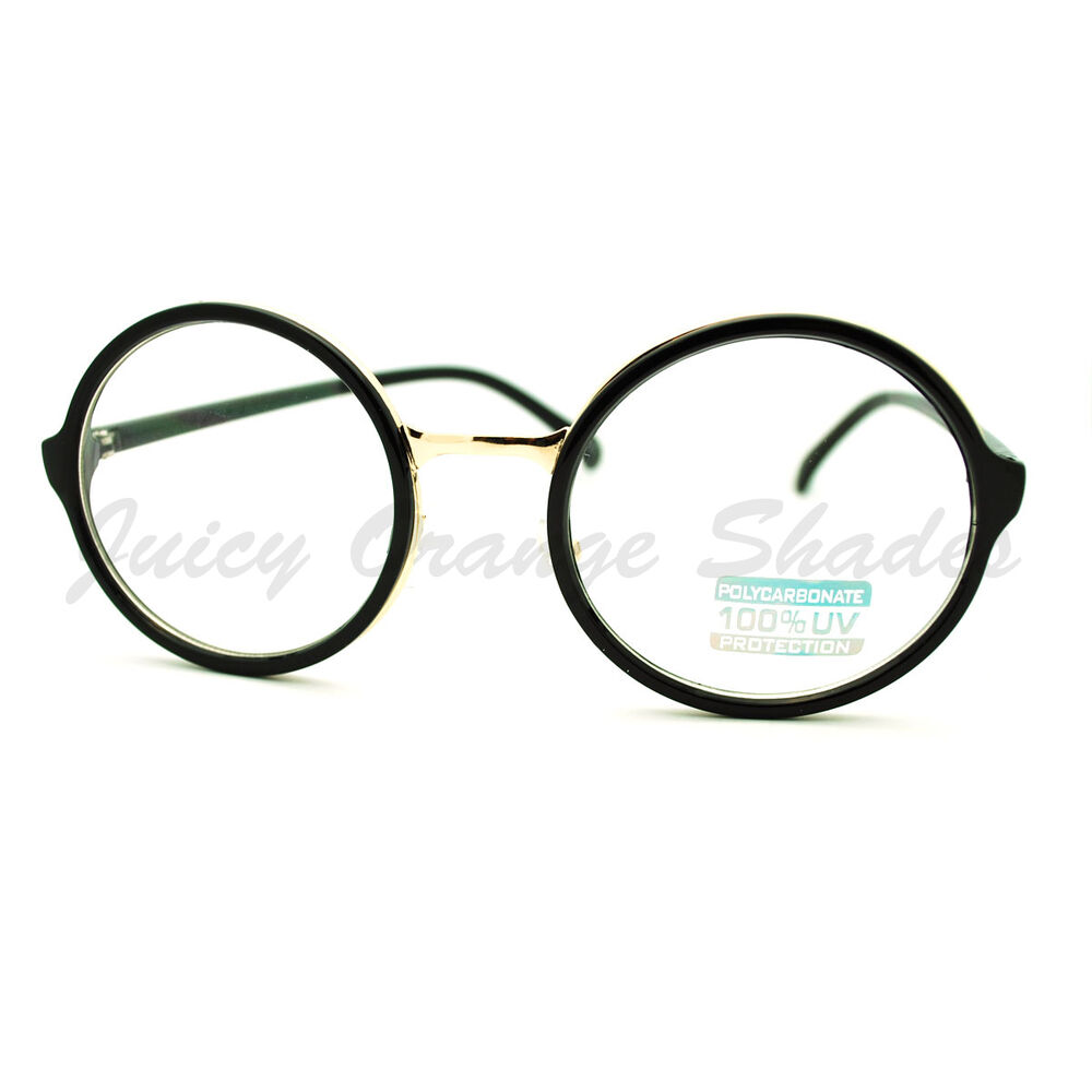 clear lens glasses classic circle frame eyeglasses