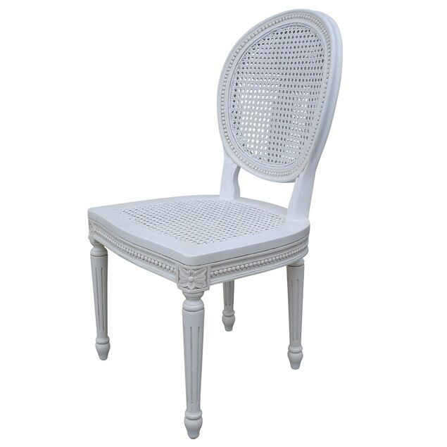 French Chateau Louis White Rattan Dining Chair EBay
