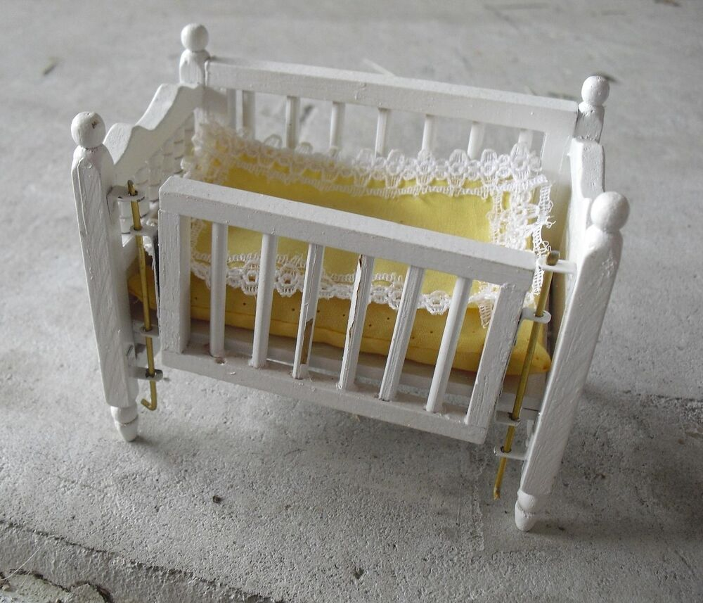 vintage wood dollhouse furniture baby crib look ebay