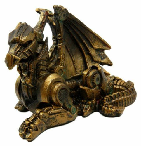Steampunk mini dragon rusty finish vintage statue decor for Sci fi decor