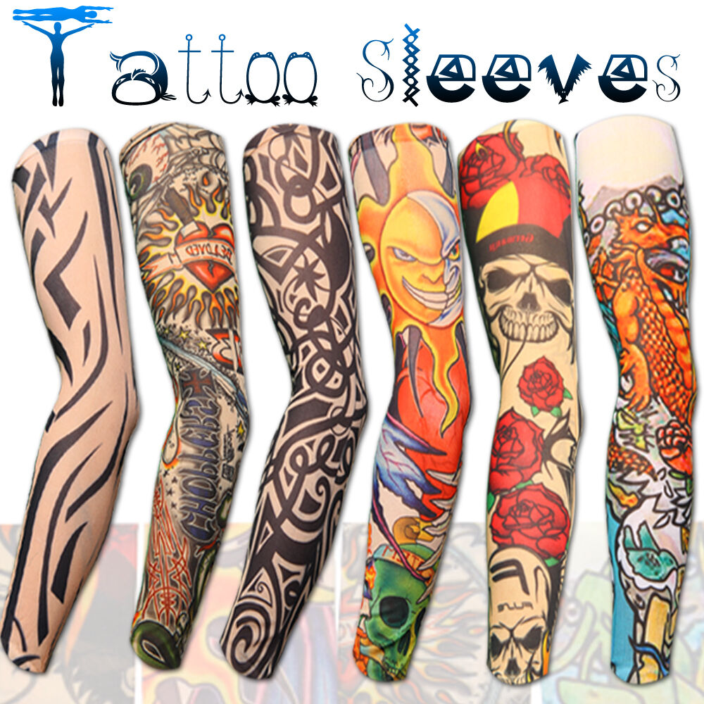 new stretch nylon fake tattoo sleeves arms fancy dress uk 6 designs ebay. Black Bedroom Furniture Sets. Home Design Ideas
