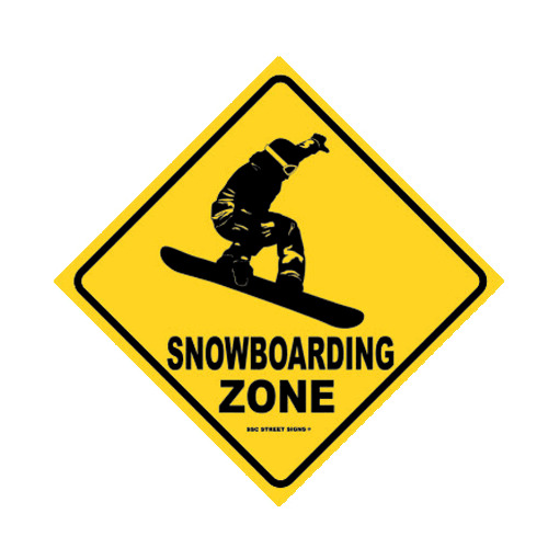 Traffic Signs Wall Decor : Snowboarding zone aluminum metal traffic parking road
