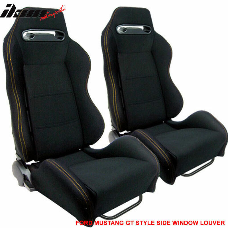 Fit For Racing Seat Seats Black Cloth & Yellow Stitch Pair
