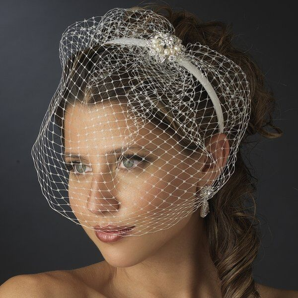 Ivory Wedding Headband With Birdcage Bridal Veil And Pearl Side Ornament