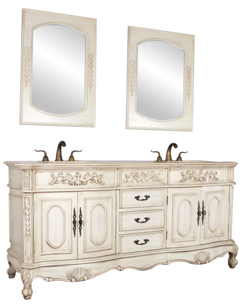 72 double lavatory sink bathroom vanity antique white cabinet furniture 003aw ebay for Antique white double bathroom vanity
