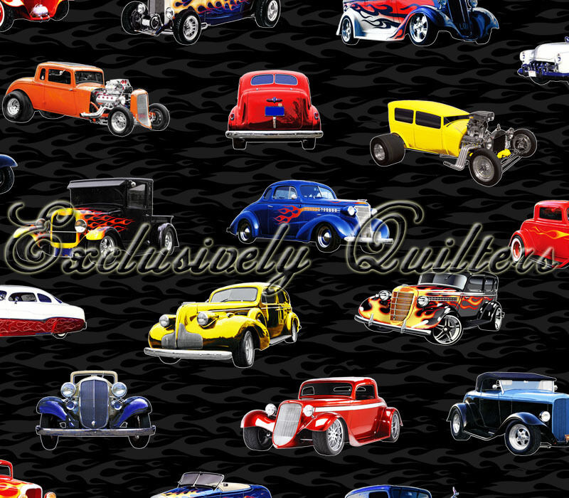 Fat Quarter Hot Rods Cars Quilting Cotton Fabric