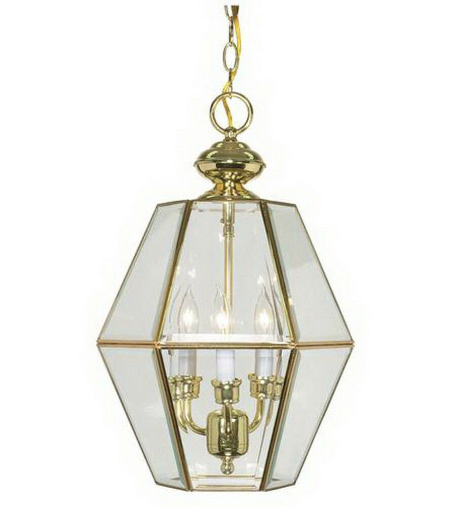 polished brass and clear beveled glass pendant chandelier