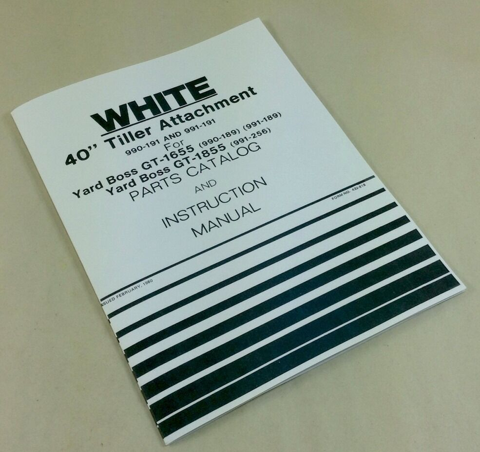 "WHITE 40"" TILLER ATTACHMENT FOR GT-1655-1855 PARTS CATALOG INSTRUCTION  MANUAL 
