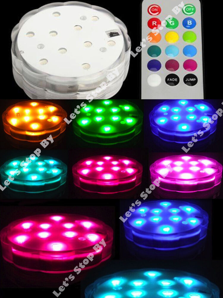 1 10 led color change submersible wedding party floral for Light up flower lamp
