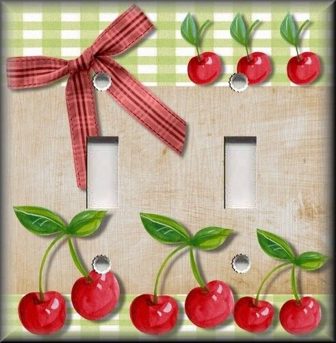 light switch plate cover country kitchen cherries home