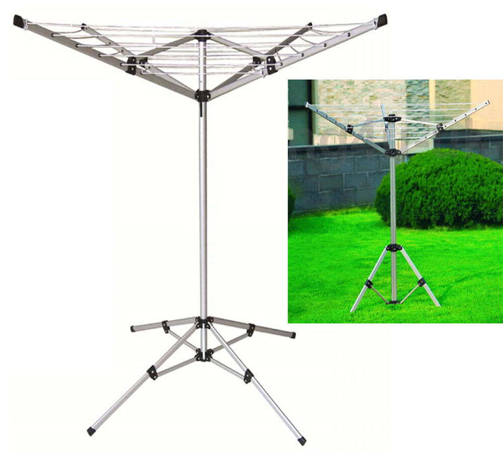 New 4 Arm Aluminium Rotary Airer Dryer Clothes Stand Free