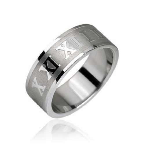Roman Numeral Wedding Bands: Stainless Steel Roman Numerals Striped Band Men's Ring 5