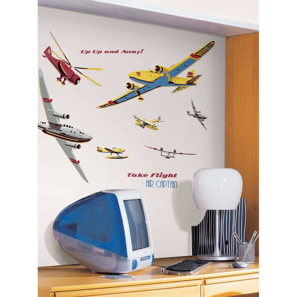 Airplanes planes mural wall stickers 25 giant decals take - Sticker geant mural ...