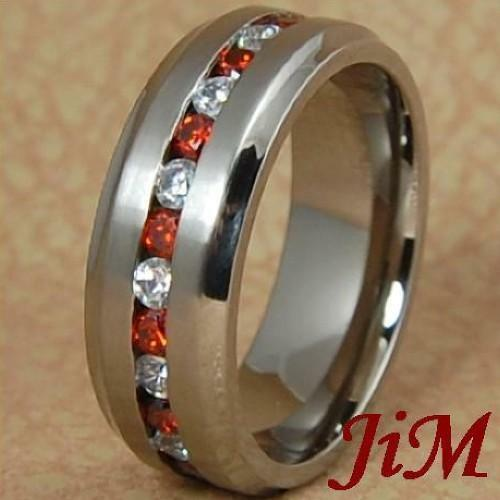8mm Titanium Ring Mens Or Womens Wedding Band White Amp Red Diamonds Size 6 13 Ebay