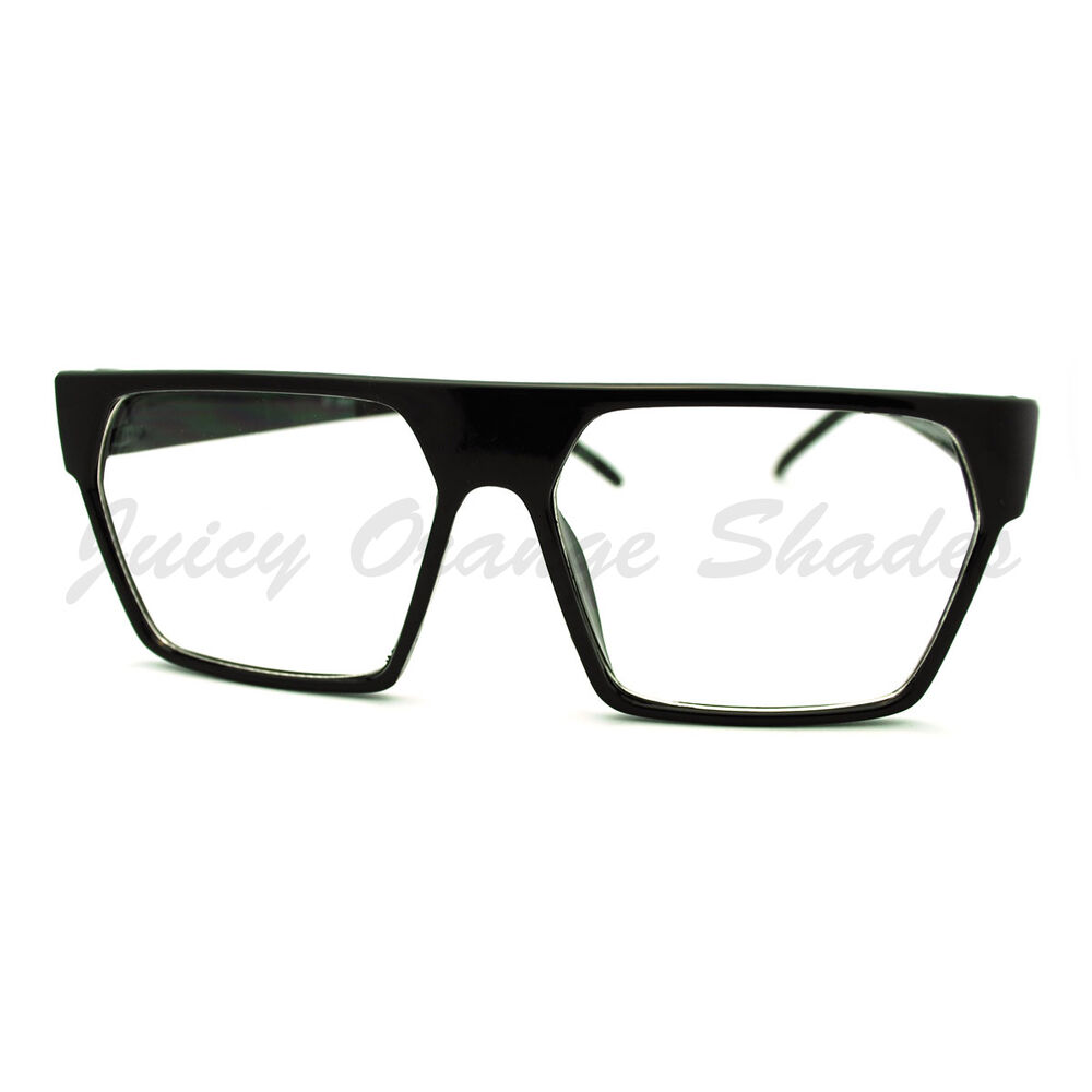 Glasses And Frame Shape : Clear Lens Glasses Flat Top Square Trapezoid Shape ...
