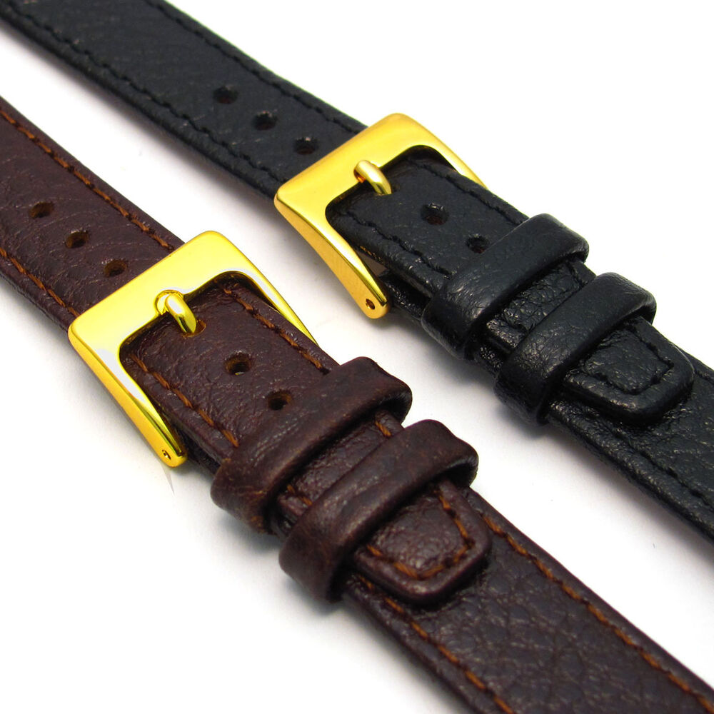 Open ended genuine leather watch strap band for vintage watch choice of colours ebay for Leather strap watches