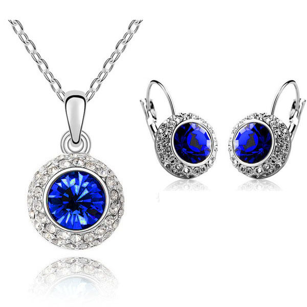 sapphire necklace and earrings set sapphire royal blue jewellery set circle earrings 3361