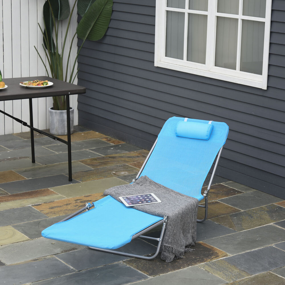 outdoor foldable chaise lounge chair adjustable patio cot beach w pillow blue ebay. Black Bedroom Furniture Sets. Home Design Ideas