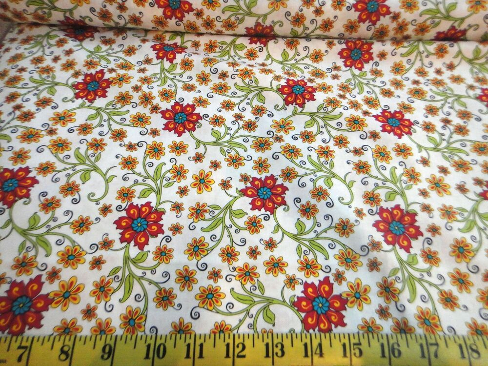 Gypsy garden flower toss cotton fabric white by quilting for Cotton quilting fabric