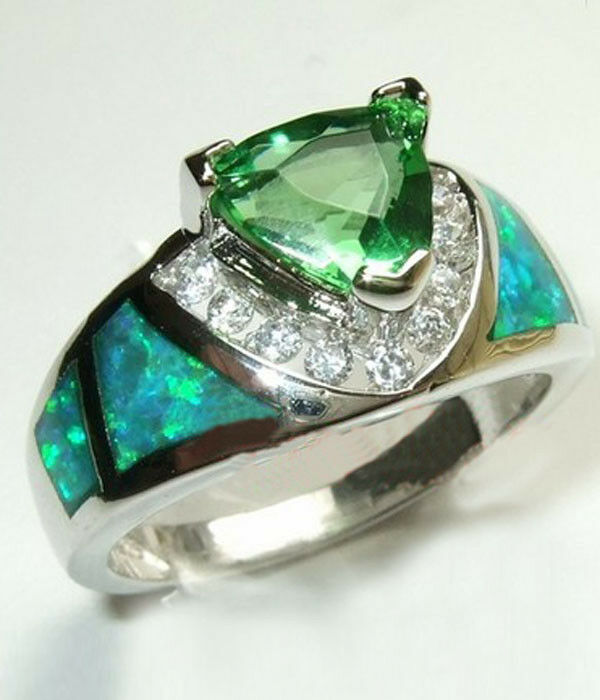 triangular green emerald fire opal ring women 39 s silver. Black Bedroom Furniture Sets. Home Design Ideas