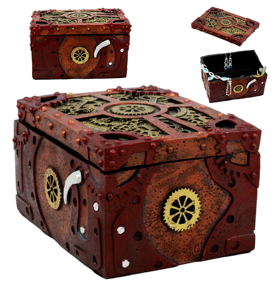 Ring In The Steampunk Decor To Pimp Up Your Home: Steampunk Mechanical Gears Clockwork Jewelry Box Figurine