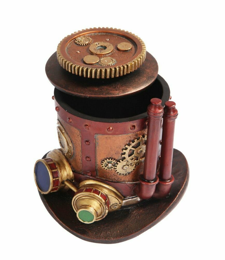 Ring In The Steampunk Decor To Pimp Up Your Home: STEAMPUNK MINING MACHINERY HAT JEWELRY BOX RESIN ANTIQUE