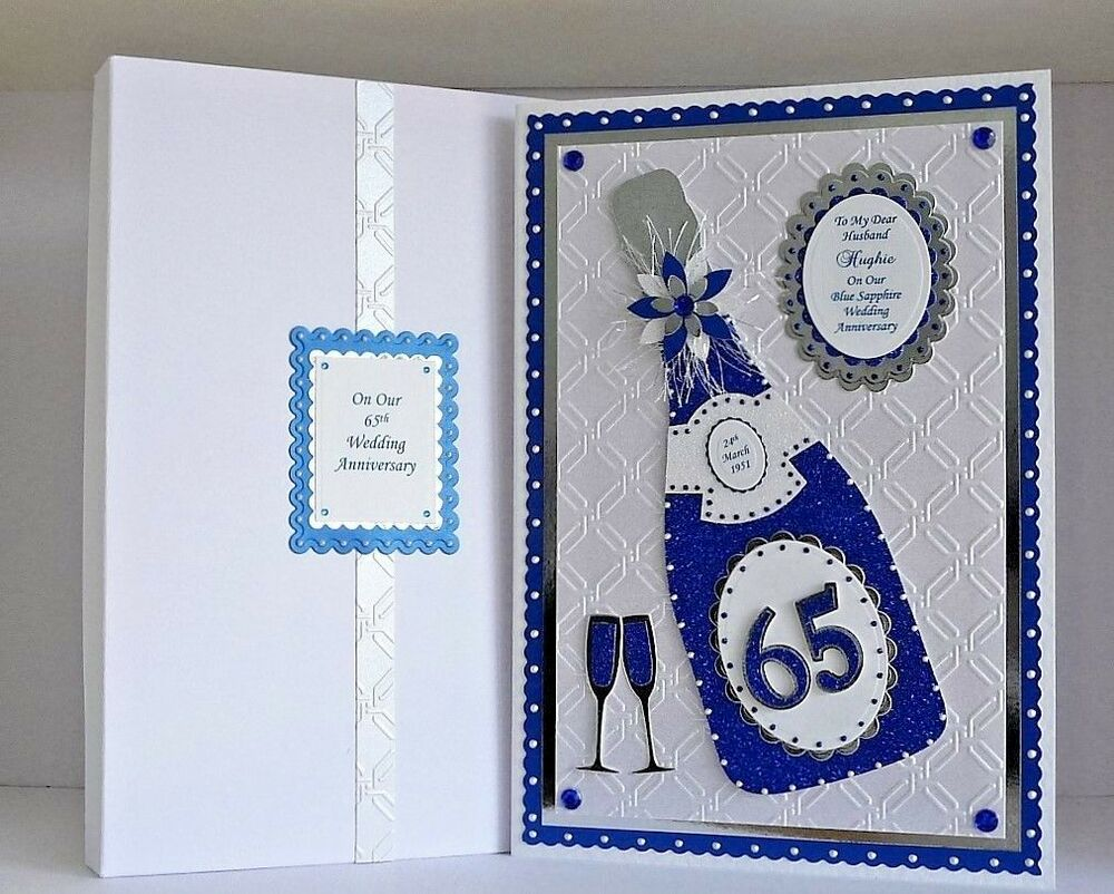 Gifts For 45th Wedding Anniversary: Sapphire 45th/65th Wedding Anniversary Card Husband/Wife