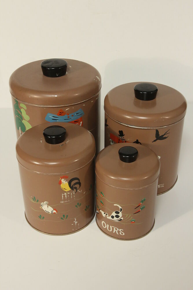 Ransburg hand painted nesting canister set 4 metal brown for Kitchen canisters set 4