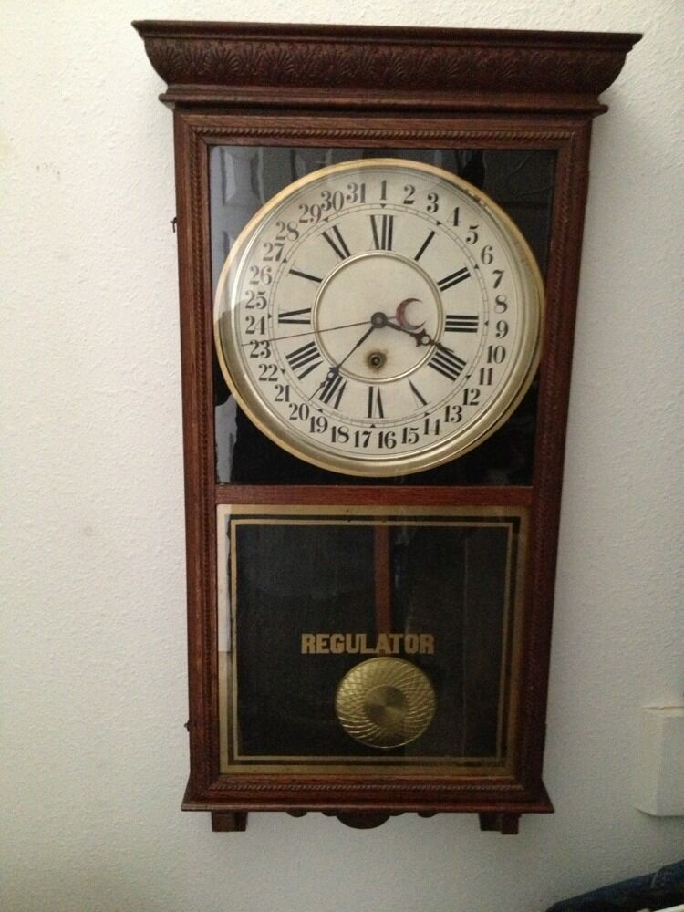 Regulator Clock Early 1900s Works Great Date And Time Ebay