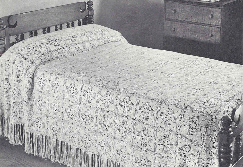 Vintage Crochet PATTERN to make MOTIF BLOCK Bedspread ...
