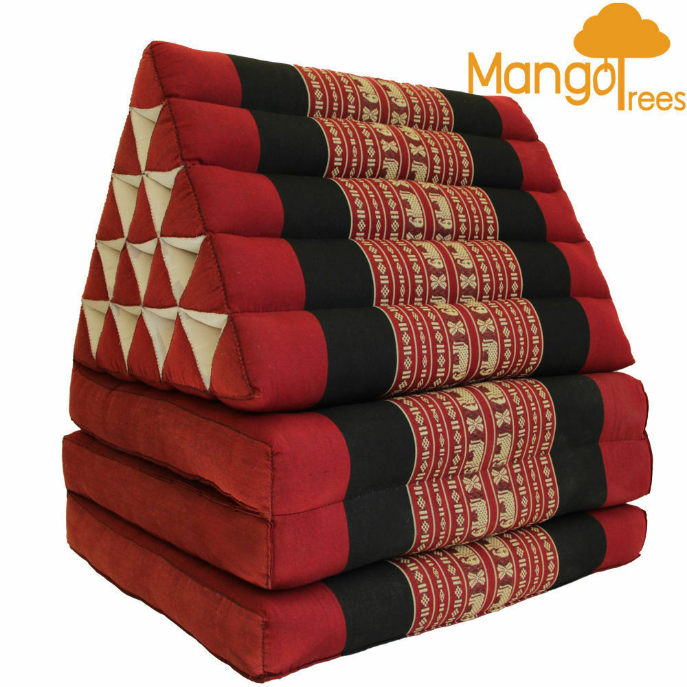 Jumbo Size Thai Triangle Cushion Fold Out Mattress Day Bed Three Folds Red Ele Ebay