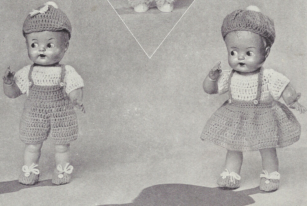 Vintage Crochet Pattern To Make 11 Inch Doll Clothes Girl