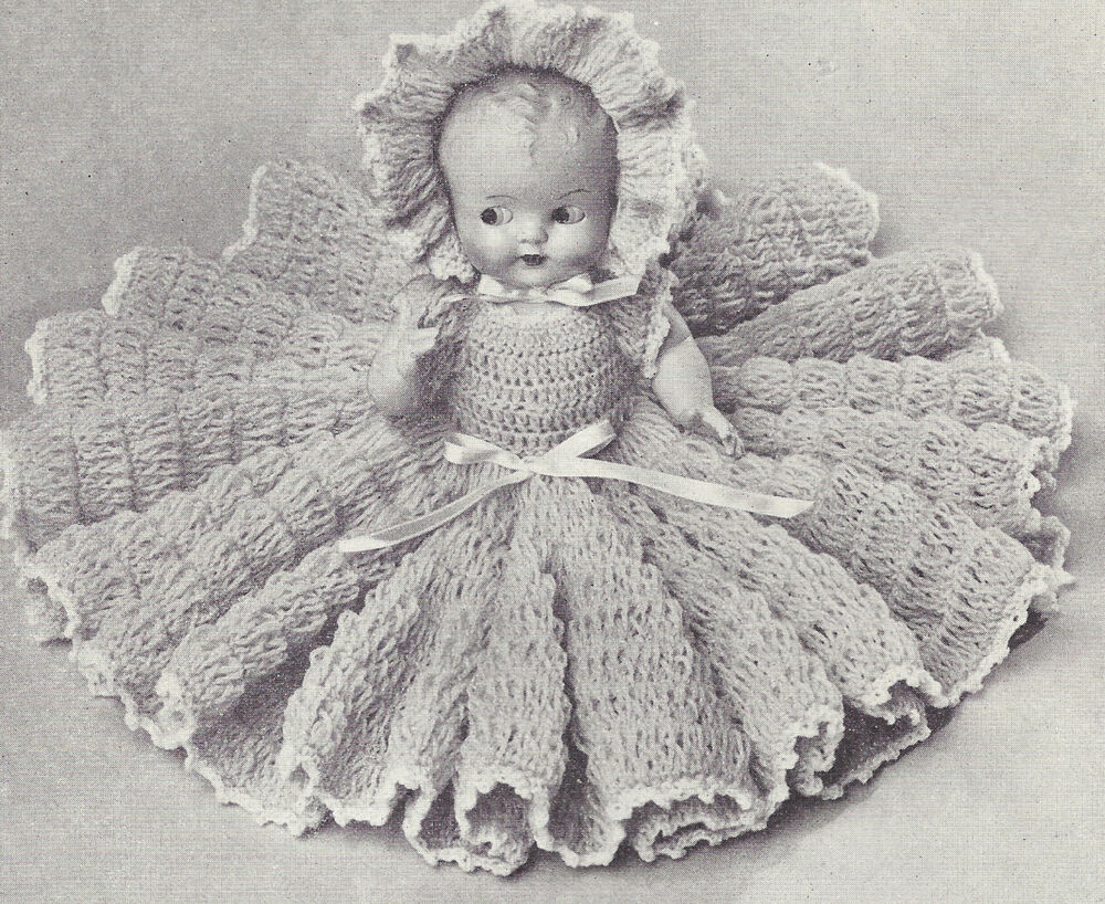 Vintage Crochet PATTERN to make 11 inch Bed Doll Baby ...