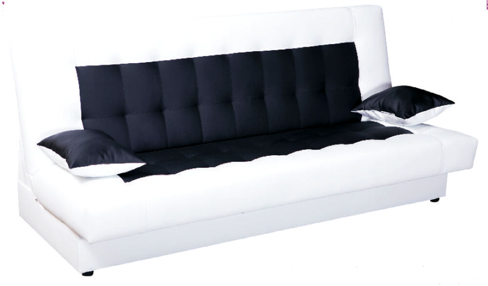 schlafsofa funktionssofa sofa bett incl kissen weiss schwarz mit bettkasten neu ebay. Black Bedroom Furniture Sets. Home Design Ideas