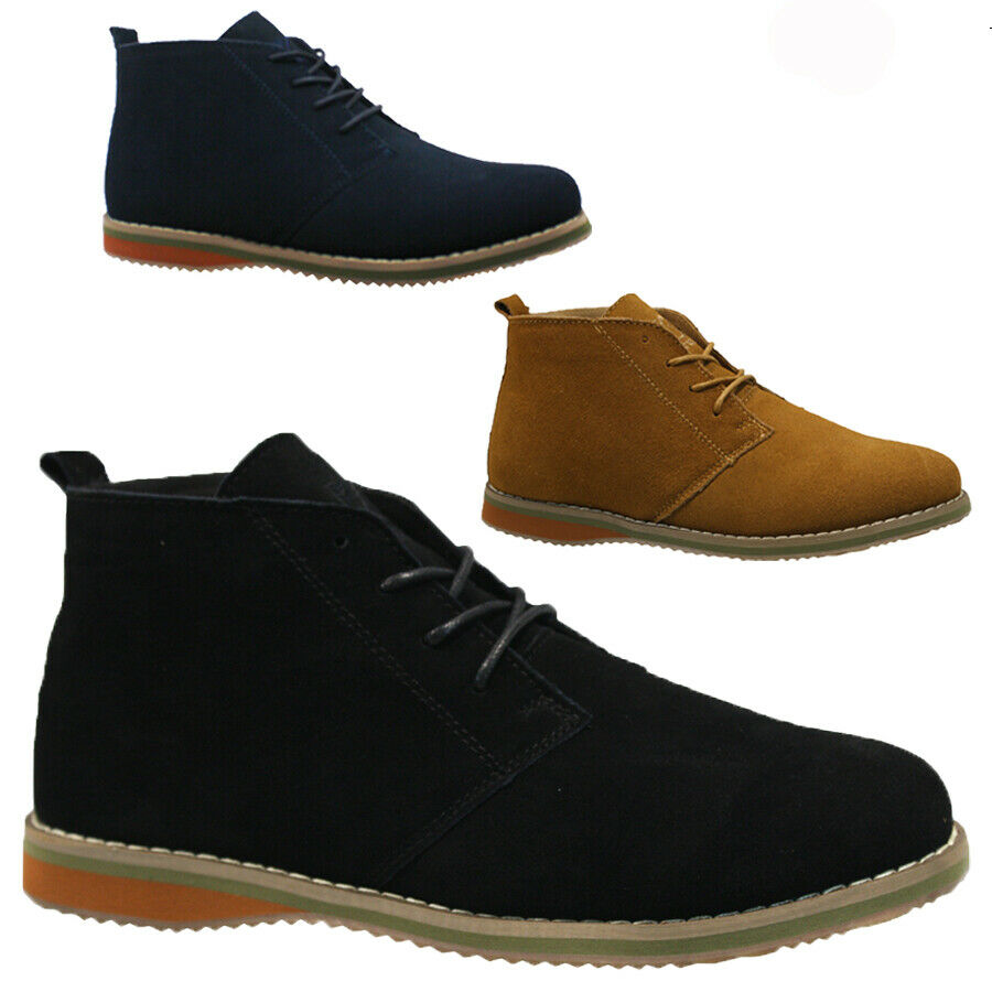 new mens suede winter casual lace up fashion boots ankle