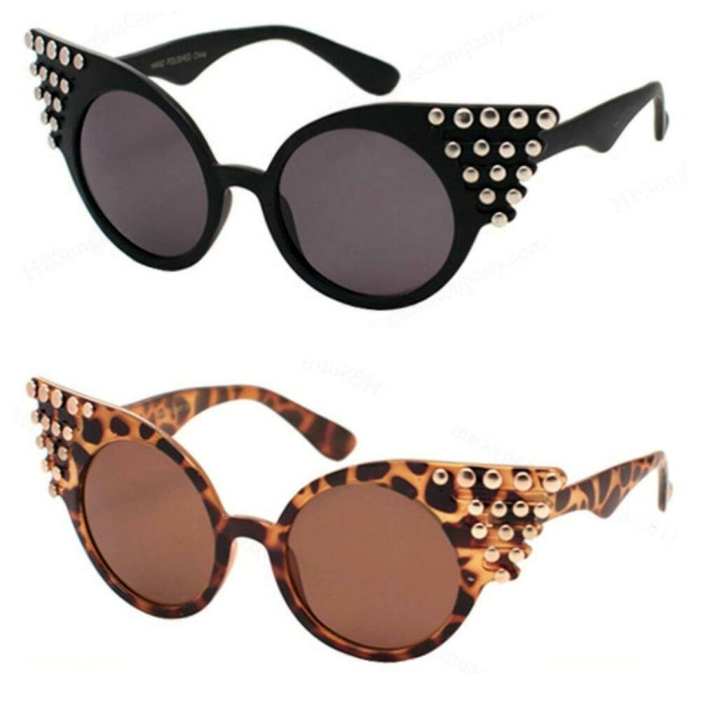 VTG 50s/60s Style Black Studded Cats Eye Sunglasses Retro