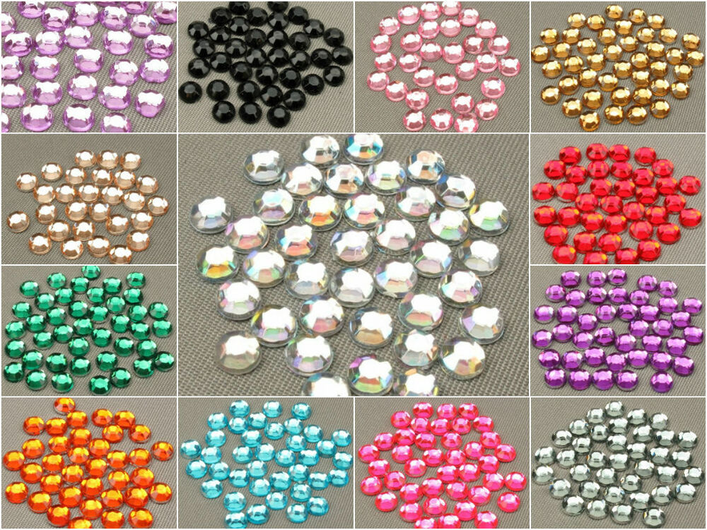 Resin rhinestones crystal flat back acrylic gems nail art for Plastic gems for crafts