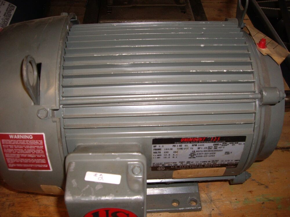 Us Motors 5 Hp 3 Phase 3495 Rpm Frame 182t Unimount 125