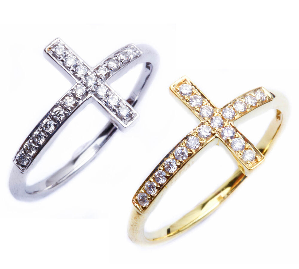 sideways cross solid 14kt white yellow gold ring