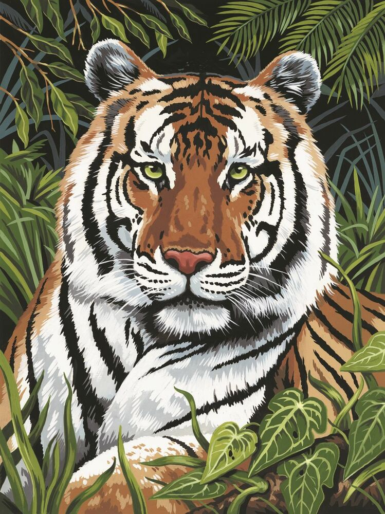 JUNGLE TIGER IN HIDING CLOSE UP PAINTING A4 PAINT BY ...