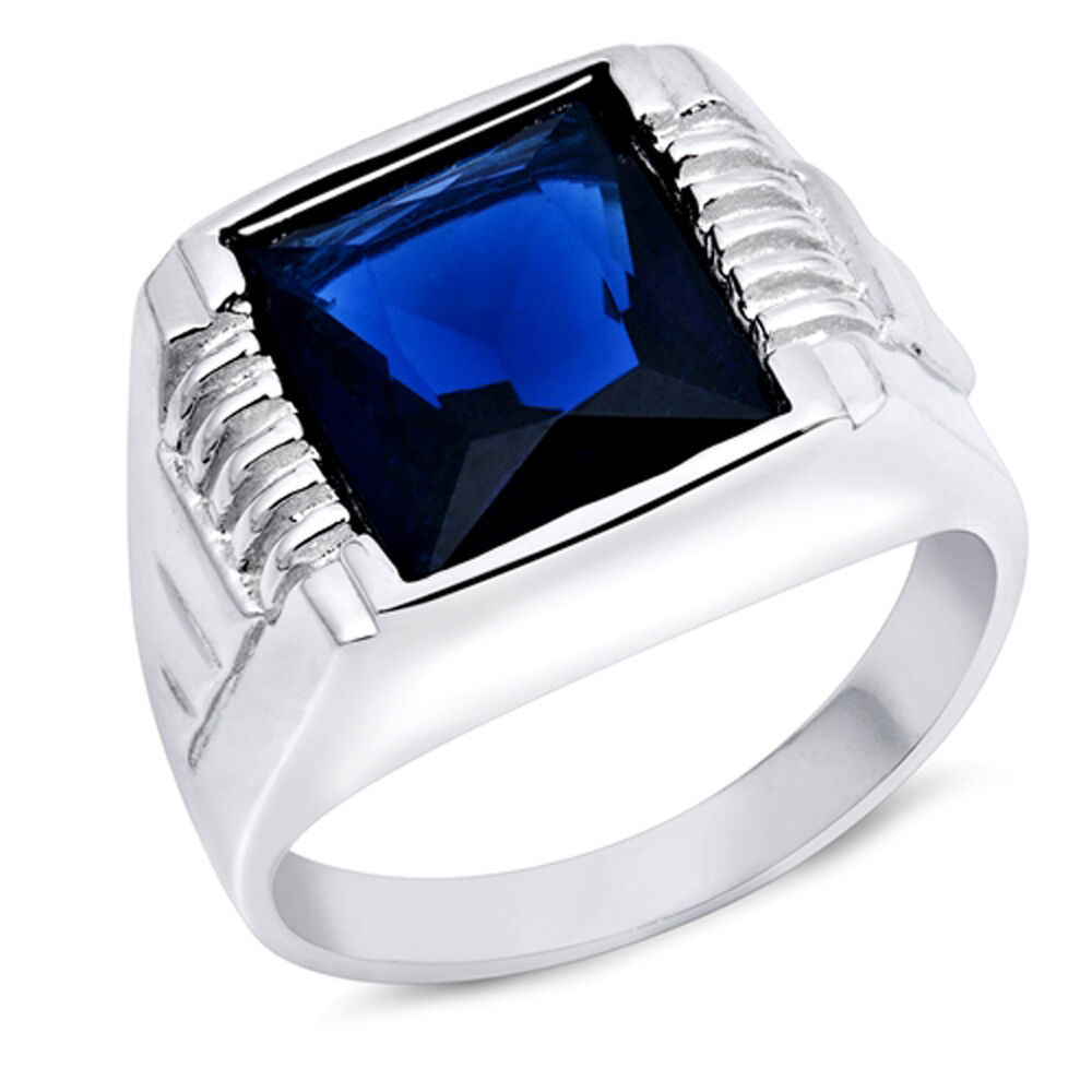 men 39 s square blue sapphire 925 sterling silver ring sizes. Black Bedroom Furniture Sets. Home Design Ideas