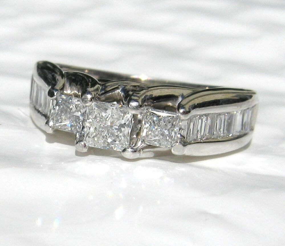 1 00 Ct 3 Stone Princess Cut Diamond Ring 14k White Gold