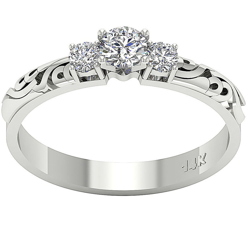3 band wedding ring prong set 0 50 ct white gold jewelry 3 1085