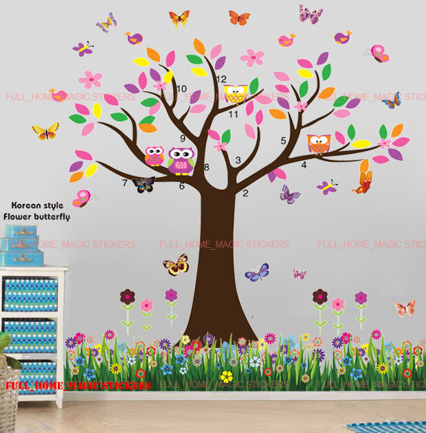 Owl butterfly tree flower wall stickers decal nursery kids for Stickers de pared