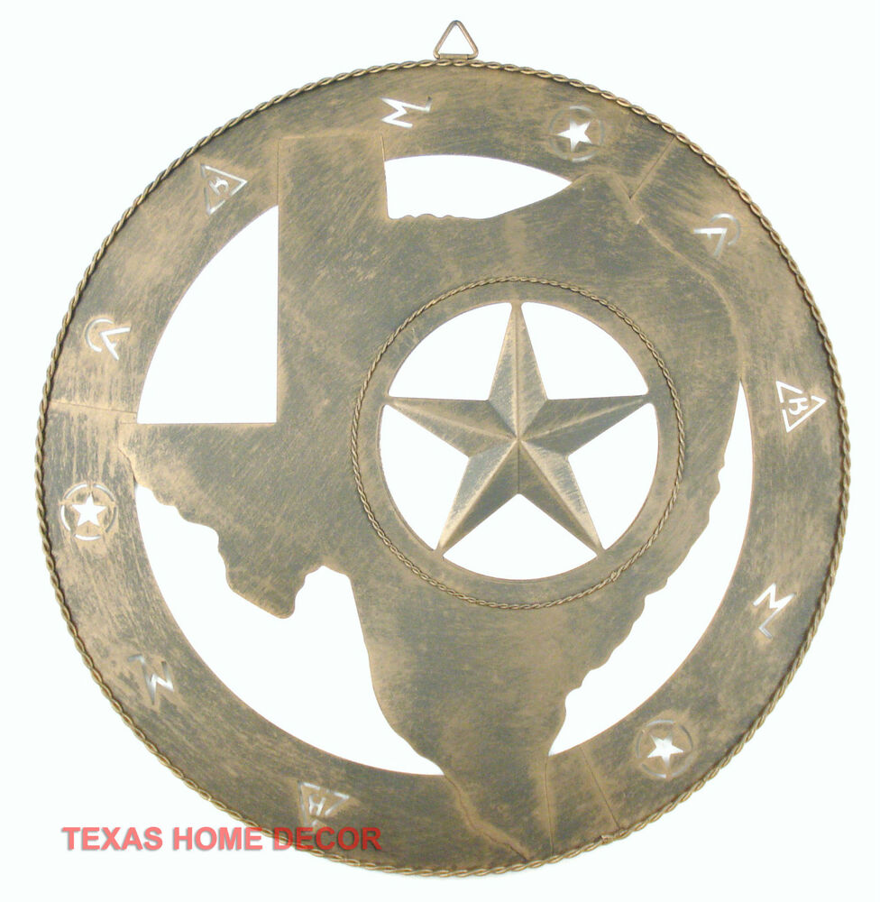 Texas Map Shape Wall Decor Metal Star Branding Symbols