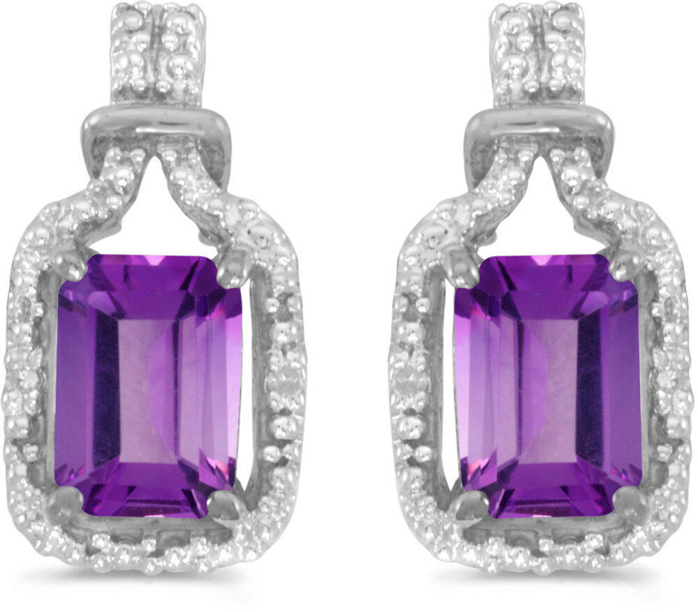 14k White Gold Emerald Cut Amethyst And Diamond Earrings