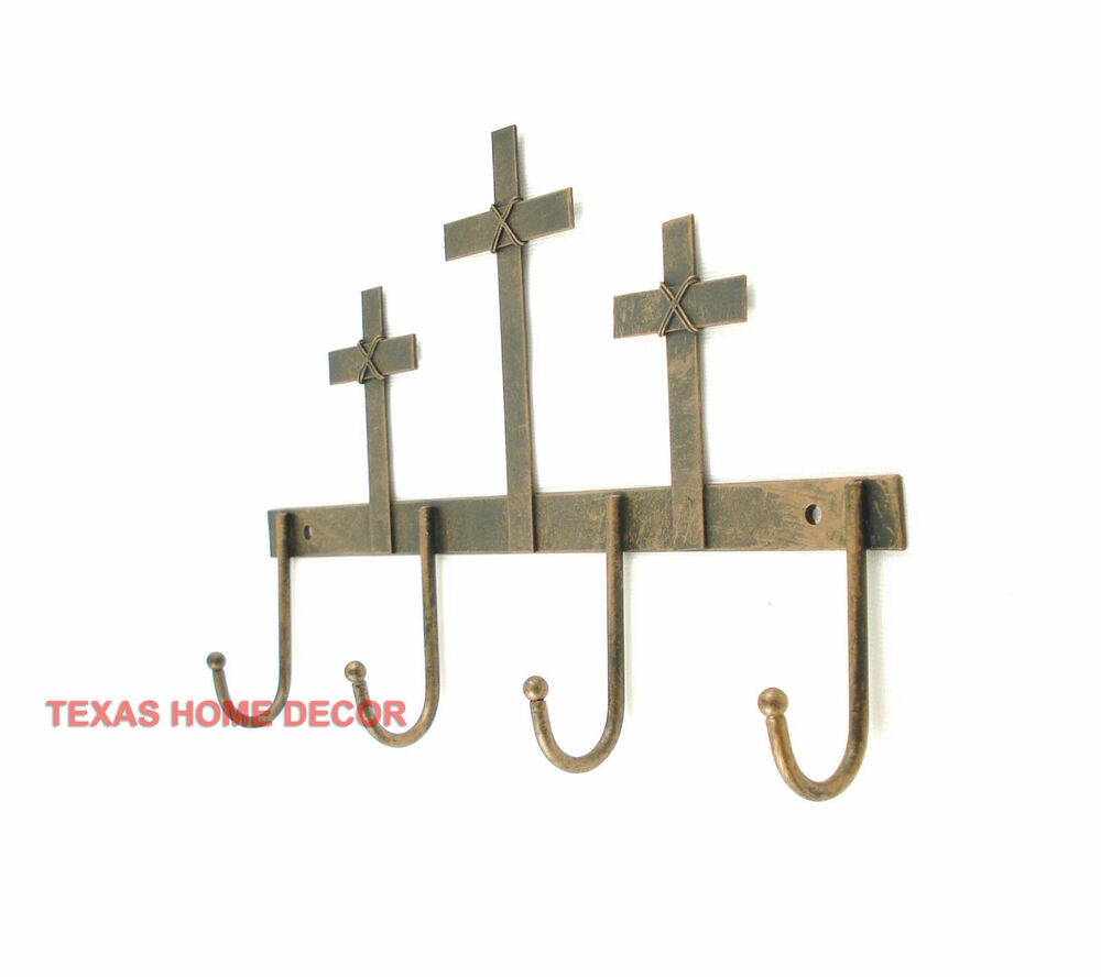 Cross Key Holder 4 Hooks Hanger Tin Metal Coat Holder ...