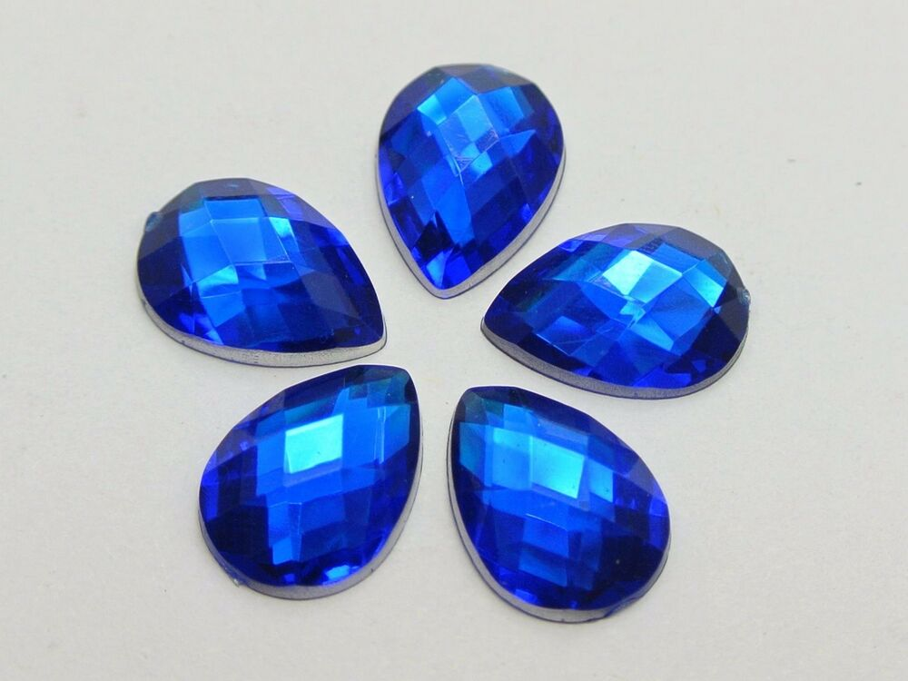 200 royal blue acrylic flatback teardrop rhinestone gems for Plastic gems for crafts