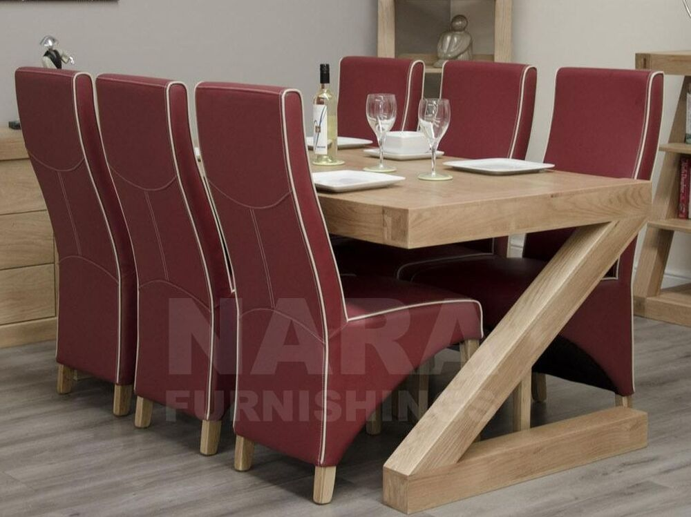 Zaria Solid Oak Designer Furniture Large Dining Table And Six Leather Chairs
